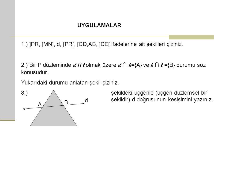 UYGULAMALAR 1.) ]PR, [MN], d, [PR[, [CD,AB, ]DE[ ifadelerine ait şekilleri çiziniz.